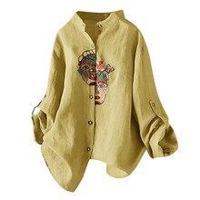 Blusa de mujer de algodón y lino de talla grande Vintage bordado Casual blusa Tops bluzas de mujer 2020 blusas largas para mujer