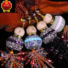 Car Pendant Ornaments Crystal Diamond Gourd Rearview Mirror Perfume Bottle Pendants Key Chain Keyring For Accessories