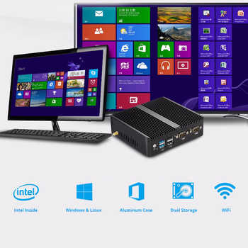 Mini PC Windows 10 Celeron 3755 J1800 J1900 Pentium 3805U Mini Computer Dual Gigabit Ethernet 2x RS232 Ports 4x USB pfSense