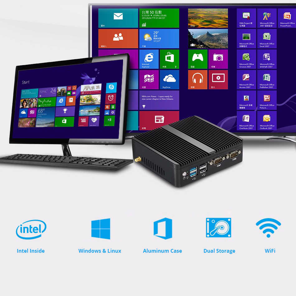 Mini PC Windows 10 Intel Celeron 3755 J1800 J1900 Pentium 3805U Miciro computadora 2 * Gigabit Ethernet 2 * RS232 4 * USB PC Industrial