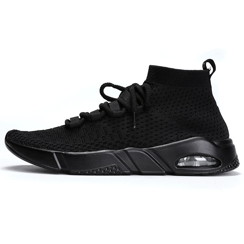 plus size 39-46 men running shoes air cushion Fly Weave high top basket sneakers shock absorption breathable lightweight walking
