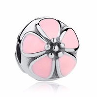 Cherry Blossom With Pink Enamel Clip 100 925 Sterling Silver Charm Beads Fits Pandora European Charms