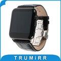 Bezerro genuína pulseira de couro borboleta fecho para iwatch apple watch 38mm 42mm substituição banda strap pulseira com adaptadores