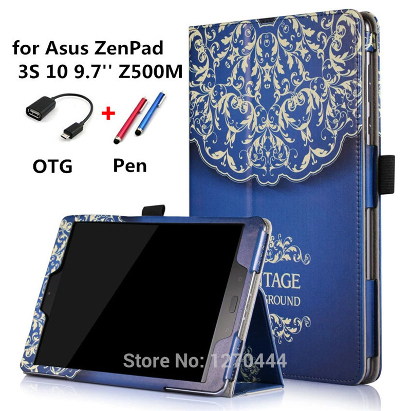Luxury Colorful drawing Zenpad 10 Z500M Print Leather smart Cases stand Cover For Asus ZenPad 3S 10 Z500M Z500 9.7 Tablets cases asus zenpad 3s 10 z500m tablet pc