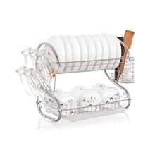 2-Tier Dish Cup Drying Rack, Kitchen Tool Drainer Tray Dish Holder Organizer