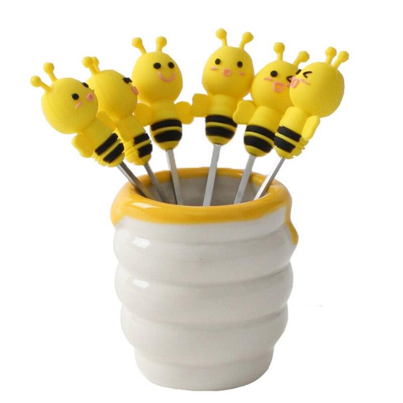 6pcs/set Cute Little Bee Animal Fruit Forks with Ceramic Pot Holder Kids Cartoon Fruit Forks Picks Table Decoration Tools