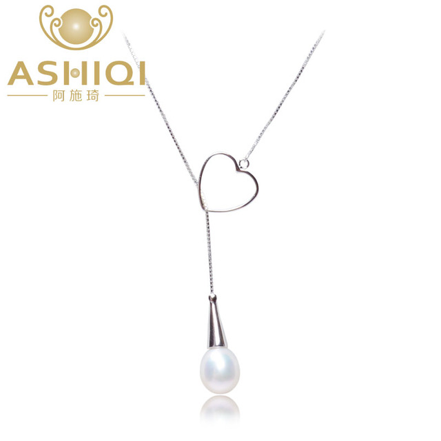 ASHIQI real Natural  freshwater pearl necklace , 925 sterling silver heart necklace pendant for women  pearl jewelry