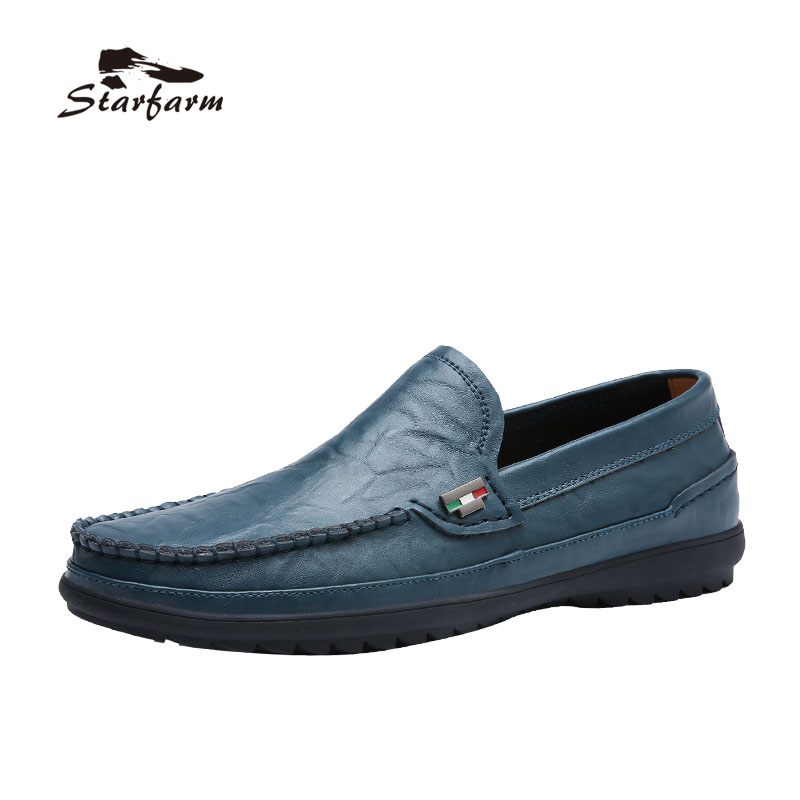 STARFARM ummer Genuine Leather Shoes Men Casual Moccasins Mens Slip-On Loafers Breathable Driving Black Shoes genuine leather men shoes casual soft breathable moccasins men loafers high quality