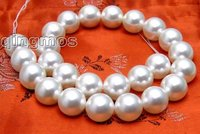 SALE Big 16mm white Round Sea shell PEARL strands 15 los255 Wholesale/retail Free shipping
