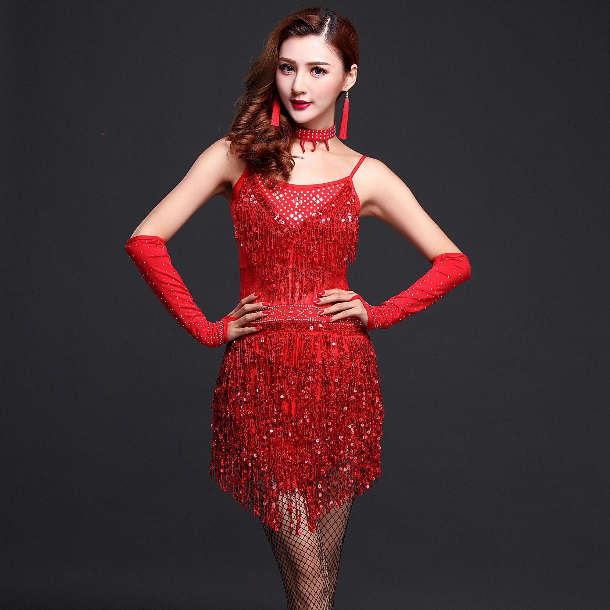 Tassel Sequin Ballroom Latin Salsa Tango Dance Dress Costume Women Dancing Dress