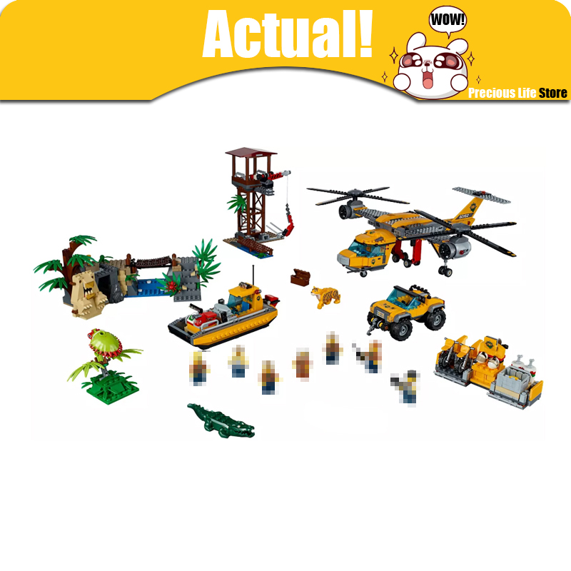 Lepin City Jungle Air Drop Helicopter 02085 Airplane Aircraft Helicopter Motorcycle 60162 Building Blocks Bricks Toys For Kids hot city series aviation private aircraft lepins building block crew passenger figures airplane cars bricks toys for kids gifts