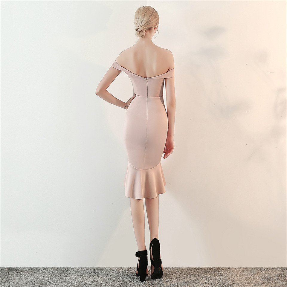 It's Yiiya evening gowns Strapless short sleeve zipper back party dresses Backless Knee-length Ruffles trumpet Prom dress C156