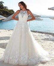 SoDigne Beach Wedding Dress Lace Applique Sleeveless Illusion dress Bridal Gowns vestidos de novia Pluse size