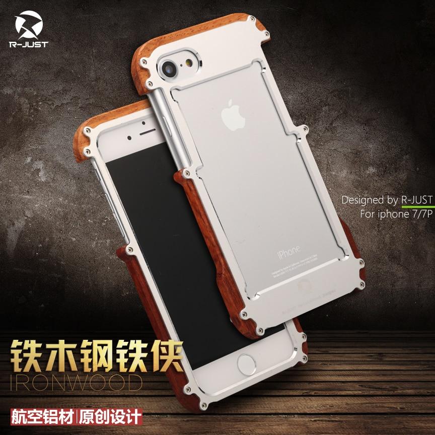 imágenes para R-just oxidación anódica de aluminio del metal marco de madera real de lujo fina delgada armor case cover para iphone 7 iphone7 más original