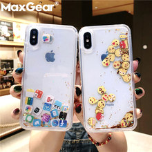 MaxGear Cute Apps Icon Emoji Liquid Glitter Quicksand Case for iPhone 6 6S 7 8 Plus Hard Cover For iPhone X XR XS Max Fundas(China)