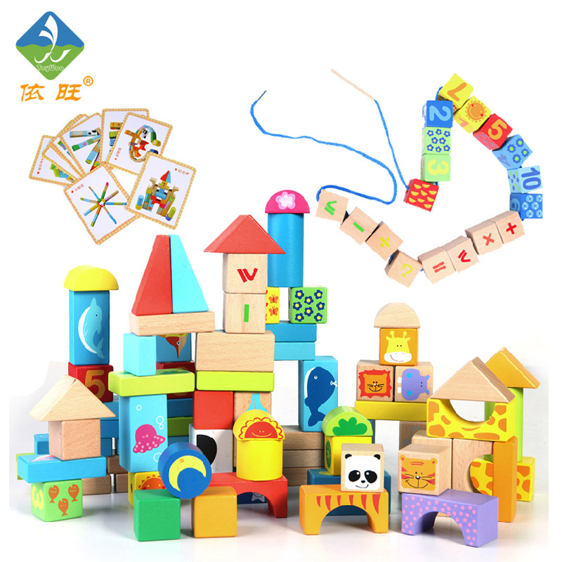 все цены на Toy Woo Animal Assembling Blocks Wooden 100 Children Colorful Cartoon  Early Education Bead For 1~3 Years Old Children в интернете