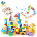Toy Woo Animal Assembling Blocks Wooden 100 Children Colorful Cartoon  Early Education Bead For 1~3 Years Old Children