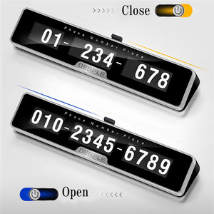 Image 2 - Car Styling Car Phone Number Plate Temporary Car Parking card with Switch 3D Hidden Mobile Cell Phone Number Card Car Sticker