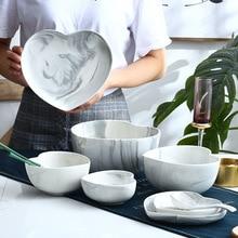 Marble Heart Shape Dinner Plate Bowl Spoon Set Food Dessert