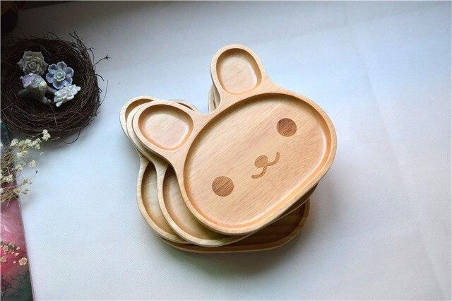 Mode bois 3 compartiment plaque divisé plateau lapin apéritif plateau 20*20*6.2 cm free gratuite