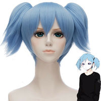 Game Sally Face Sallyface Cosplay Wig 2 Short Clip Ponytails Light Blue Hair costumes with free haircap