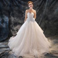 To YiiYa Białawej Popularny Vestidos De Novia Odpinany Pasek Boat Neck Bez Rękawów Sukienka Ślubna Suknie Ślubne Luksusowe X214