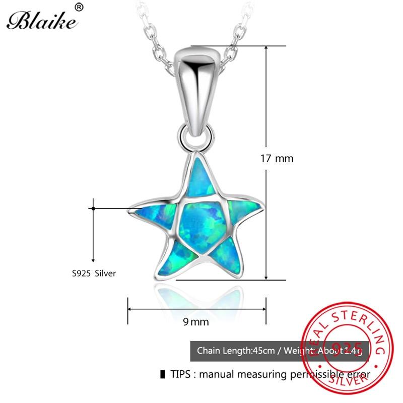 Blaike 100% Real S925 Sterling Silver Star Pendants Fine Jewelry Blue Fire Opal Charm Necklaces For Women Rainbow Choker Jewelry