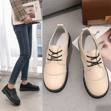 2019 Spring Fashion Shoe Women Non-Leather Flat Shoes Casual Lace-up PU Leather zapatos de mujer