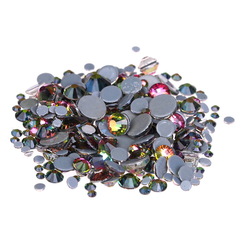 Rainbow Crystal Hotfix Rhinestones For Nails ss6-ss30 Glue Backing Iron On Glass Chatons DIY Wedding Dress Clothes Decorations ss6 ss10 ss16 ss20 ss30 fuchsia color top quality dmc iron on hot fix crystal glass rhinestones with strong gray glue