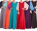 Мода Мусульманское Платье Макси Лоскутное Абая Джилбаба Исламская Платье Женская Одежда С Длинным Рукавом Платье