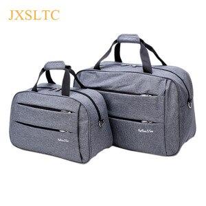 Image 1 - Bagaj seyahat çantaları su geçirmez tuval erkekler kadınlar büyük çanta jantlar adam omuz duffel çanta siyah gri mavi üzerinde taşımak kabin bagaj