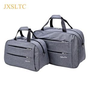 Image 1 - Luggage travel bags Waterproof canvas men women big bag on wheels man shoulder duffel Bag black gray blue carry on cabin luggage