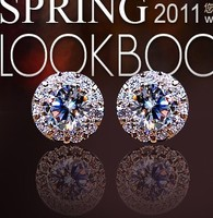 925 Silver Stud Round Earring Gemstone Korean Fashion Womens Stud Earrings Earring Stud Crystal Rose Gold