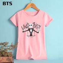 BTS The Nightmare Before Christmas T-shirt Women Summer Female Skellington Cartoon Tee Shirt Children Clothes Cotton Tee Shirts
