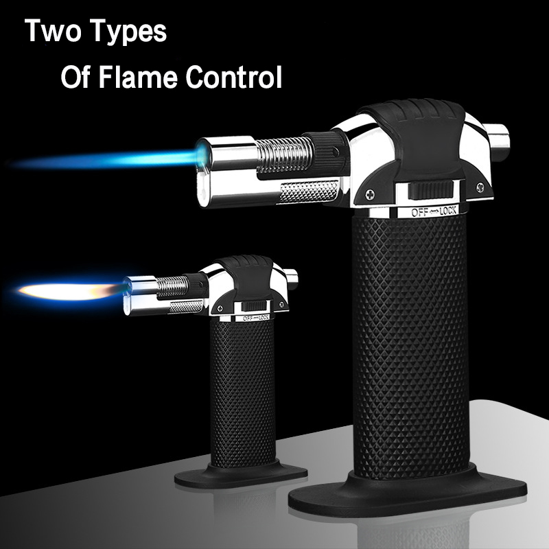 Outdoor BBQ Lighter Cigar Torch Turbo Lighter Jet Butane 1300 C Spray Gun Windproof Metal Pipe Lighter Kitchen No Gas in Matches from Home Garden