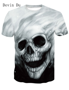 Devin Du New design skull poker print Men short sleeve T shirt 3d t-shirt casual breathable t-shirt plus-size tshirt homme