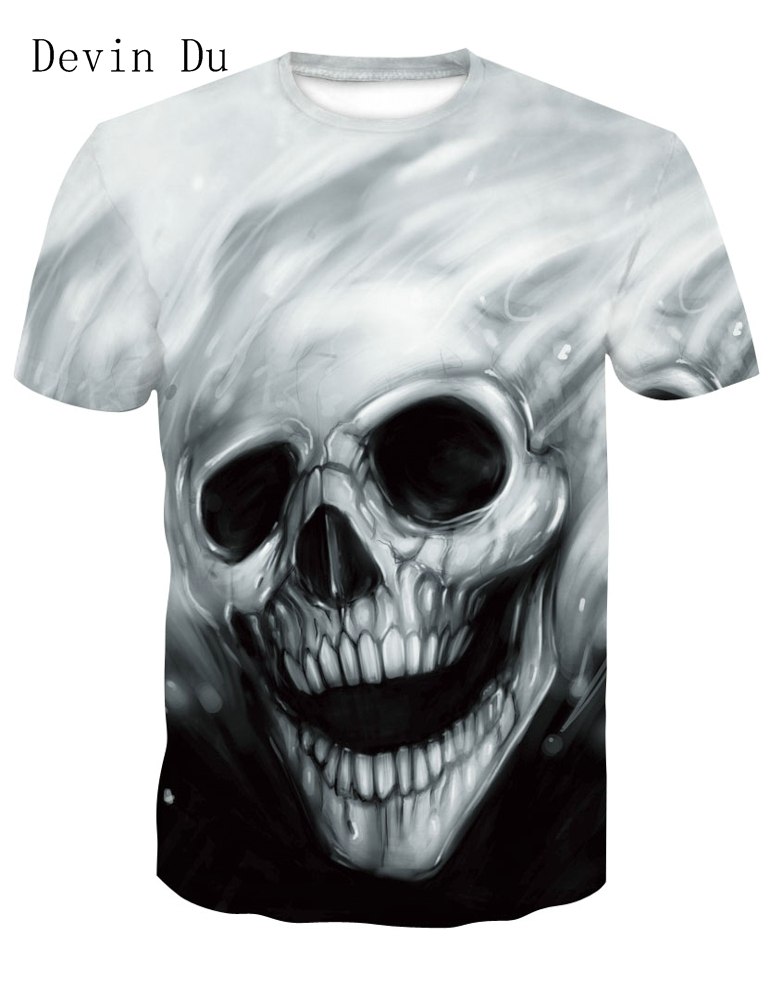 Devin Du New design skull poker print Men short sleeve T shirt 3d t-shirt casual breathable t-shirt plus-size tshirt homme
