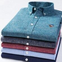 Camisas formales de manga larga para negocios informales, Color sólido, telas cepilladas de algodón puro de alta calidad, ajustadas, rojo, verde, azul y gris
