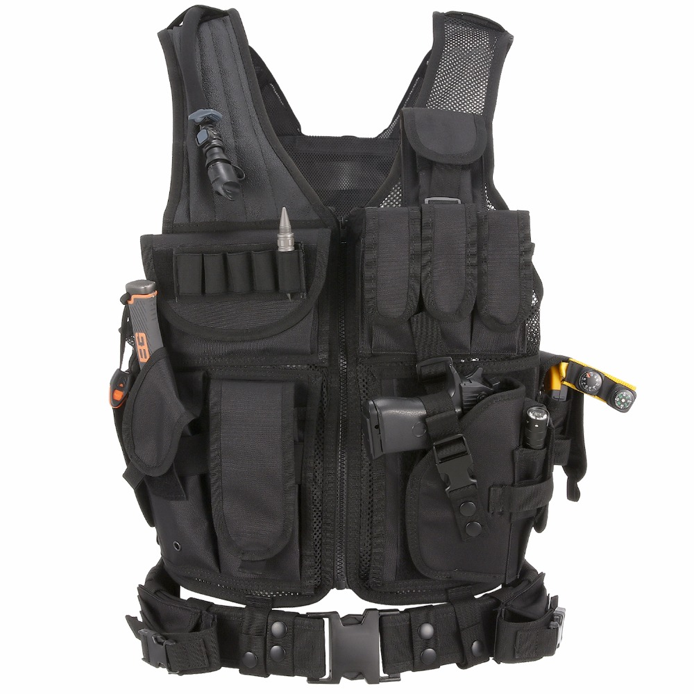 Barbarians Tactical MOLLE Military Airsoft Paintball Vest Assault Swat Vest Adjustable Lightweight