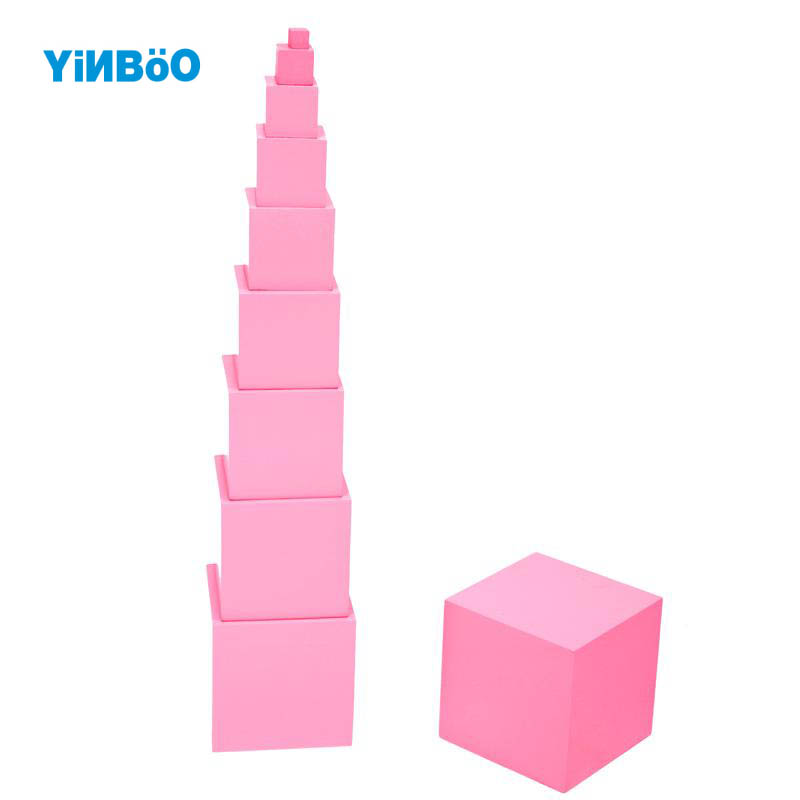 ФОТО Wooden Pink Tower Toy Educational Baby Montessori Building Block Professional EditionTeaching Game Toys-1set 10pcs