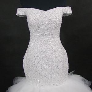 Image 4 - QQ Lover 2020 جديد قبالة الكتف حورية البحر فستان الزفاف مخصص حجم كبير العروس ثوب زفاف أفريقي