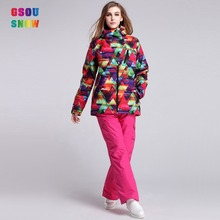 2016 GSOU SNOW ski suits sets women brands old ladies colorful fancy high quality real flower pattterned suits and sets or women