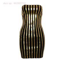 2017 gold strapless women summer dress