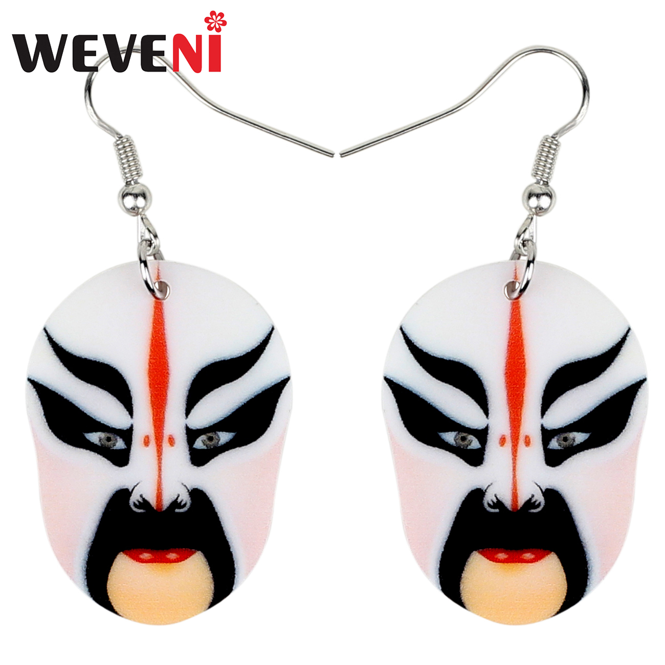 WEVENI Acrylic Fashion Chinese Beijing Opera Mask Earrings Drop Dangle Ancient Character Jewelry For Women Girls Gift Charms New