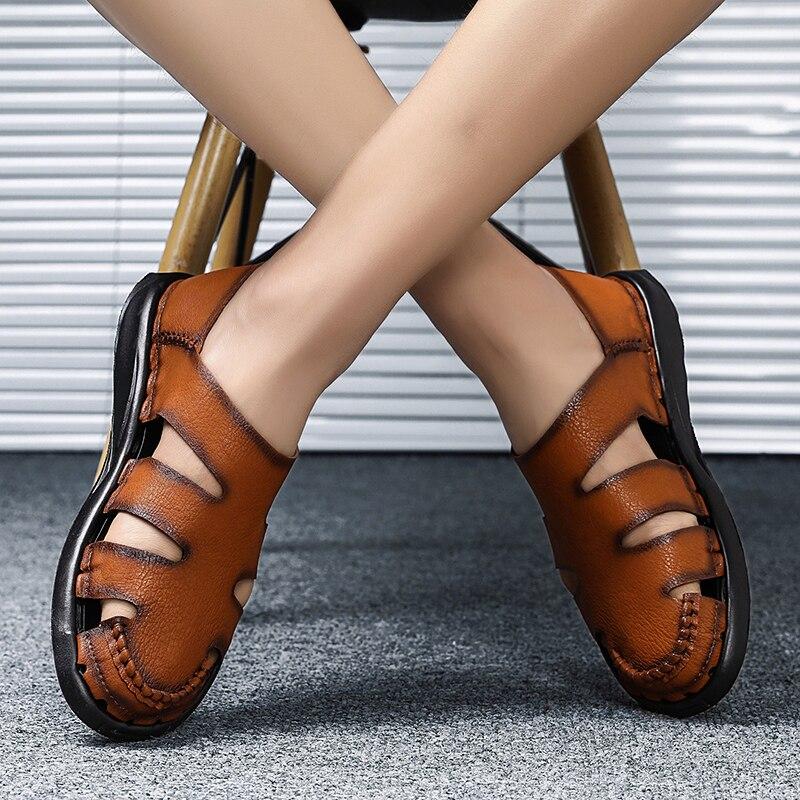 JICHI Mens Sandals Leather Summer 2019 New Beach Men Casual Shoes Outdoor Sandals Big Size 38-46 Fashion Men Shoes