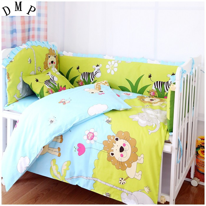 Promotion! 7pcs Lion crib bedding set 100% cotton baby bedding curtain crib newborn bed sheet (4bumper+duvet+matress+pillow)