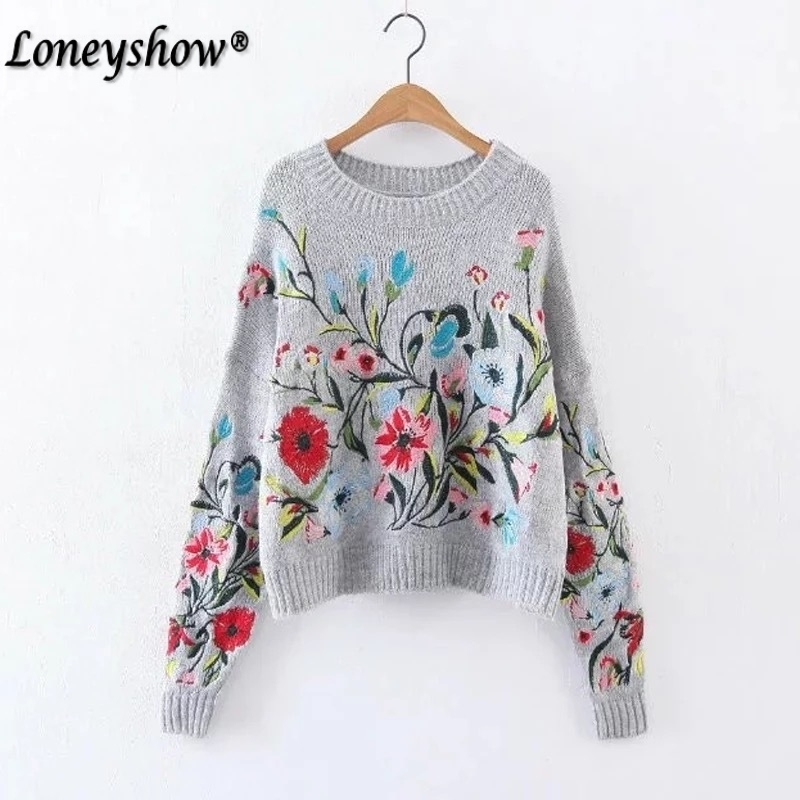 Wool Womens Winter Sweaters 2017 Runway Designer Flora Embroidery Ethnic Vintage Knitted Ladies Pullovers sueter mujer