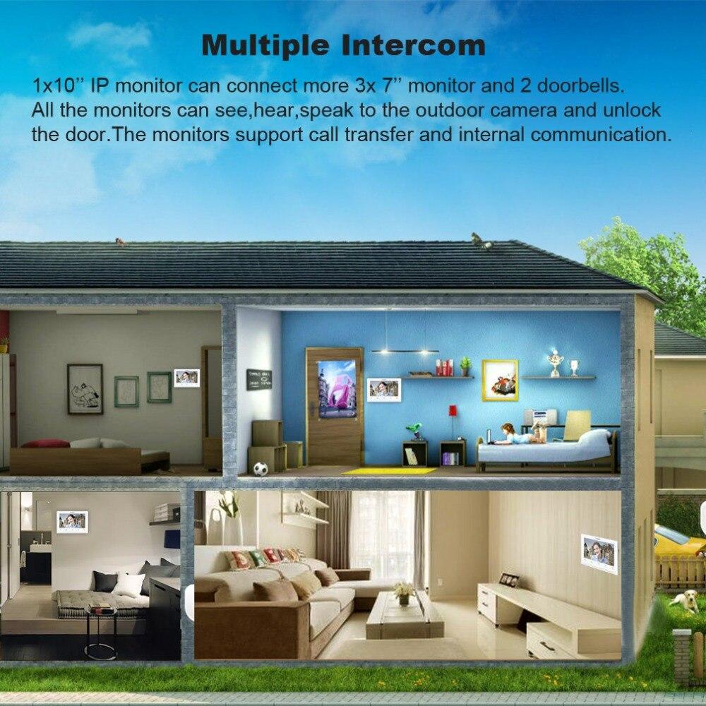 Купить с кэшбэком TMEZON  Wireless Wifi Smart IP Video Doorbell Intercom System ,10 Inch+2 x 7 Inch  Monitor with 1x720P Wired Door Phone Camera
