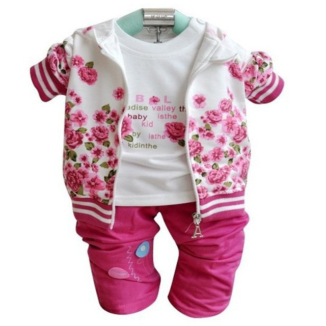 2016 new Baby children girls clothing sets suits kids 3pcs coat hooded+shirt+pant trousers baby