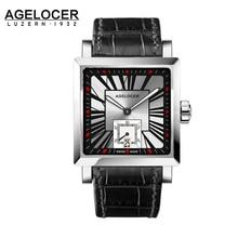 Agelcoer Для мужчин наручные часы квадратный водные виды спорта Часы 5ATM Водонепроницаемый Пояса из натуральной кожи часы мужской автоматический Montre Homme